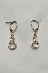 ENDLESS CIRCLE EARRINGS ~ LARGE BOTTOM RINGS, LEVER STYLE CLOSURE