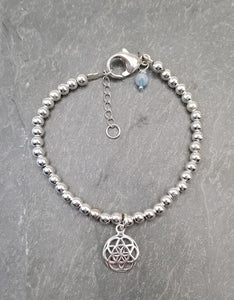 SWEET GEMS STERLING SILVER BRACELET WITH FLOWER OF LIFE CHARM