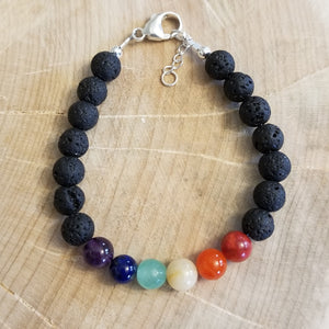 LAVA STONES WITH PRIDE COLOURS GEMSTONES BRACELET