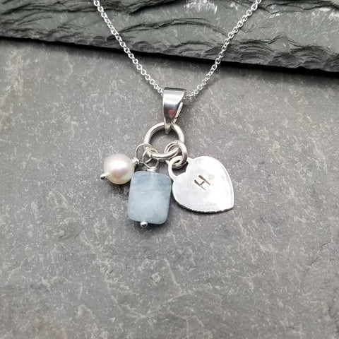 CUSTOM LOVE LETTERS HEART CHARM NECKLACE WITH FRESHWATER PEARL & AQUAMARINE