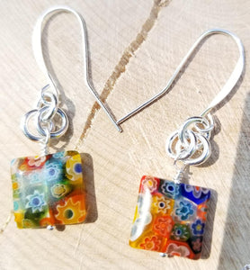 DUBLIN DELIGHT YELLOW WITH RAINBOW FLOWERS EARRINGS