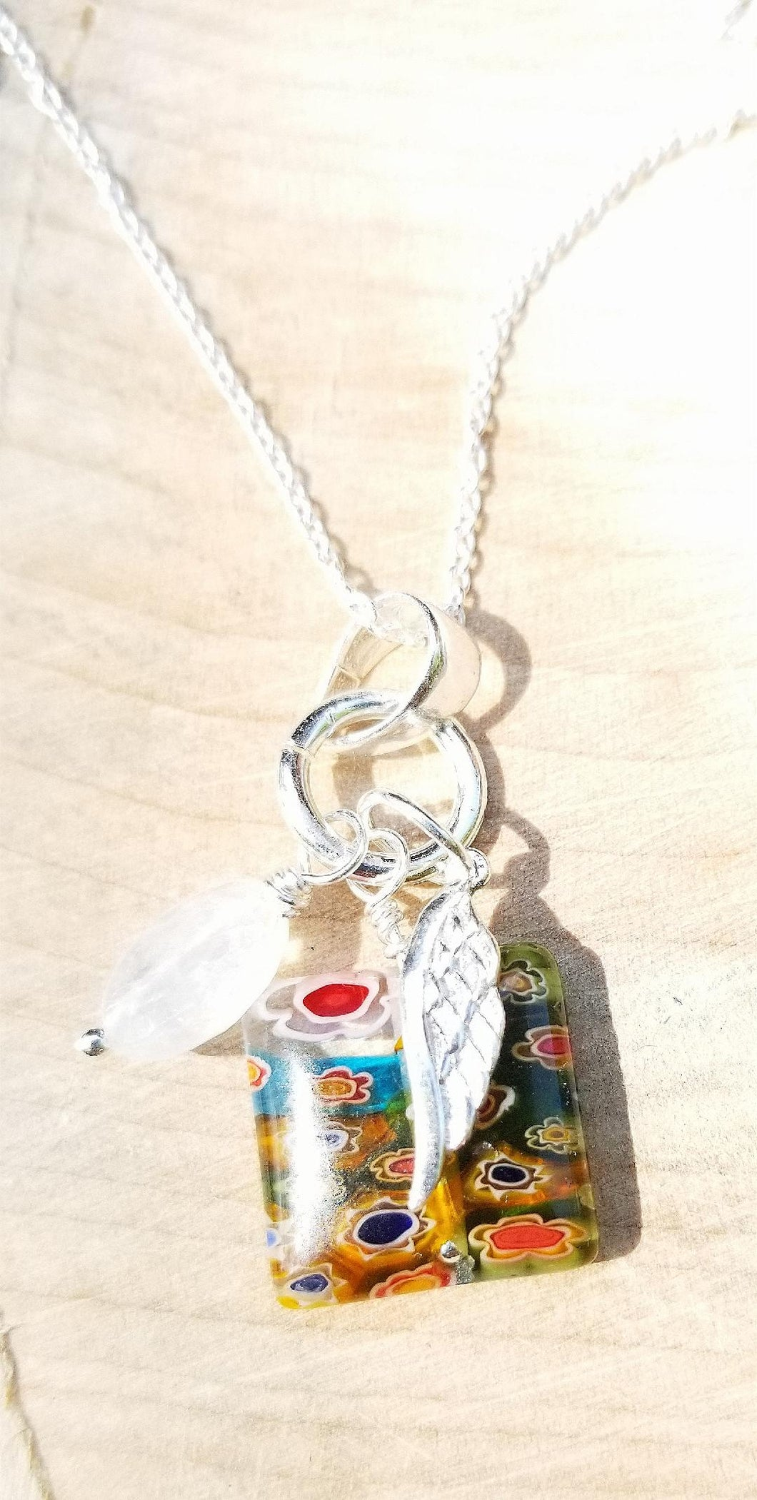 CHARMED NECKLACE WITH WING CHARM, DUBLIN DELIGHT RAINBOW