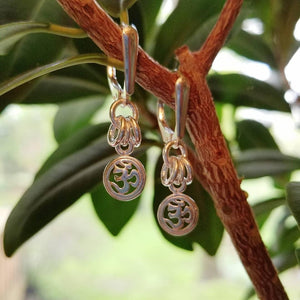 ENDLESS CIRCLE OM CHARM EARRINGS - SHORT STYLE