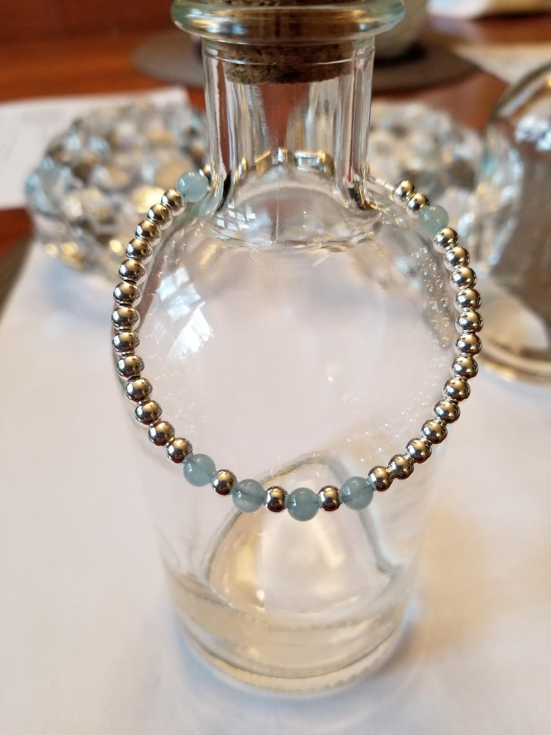 SWEET GEMS STERLING SILVER BRACELET WITH AQUAMARINE