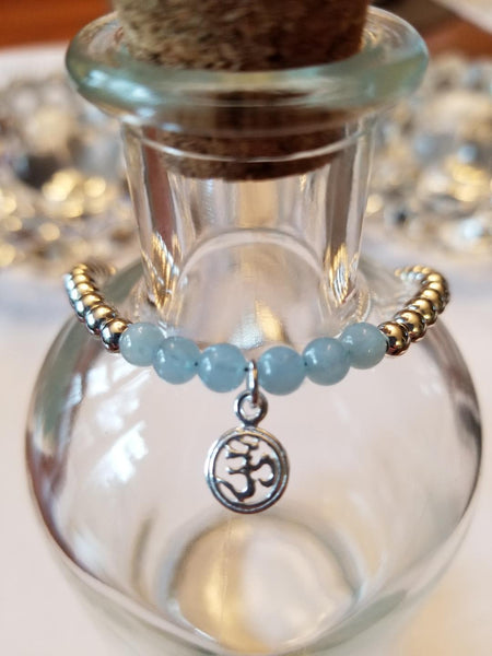 SWEET GEMS STERLING SILVER BRACELET WITH AQUAMARINE & OM CHARM