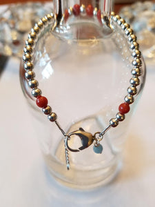 SWEET GEMS STERLING SILVER BRACELET WITH RED SPONGE CORAL