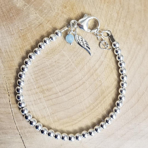 SWEET GEMS STERLING SILVER BRACELET WITH WING CHARM