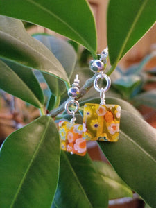DUBLIN DELIGHT YELLOW WITH MULTI-COLOURED FLOWERS EARRINGS