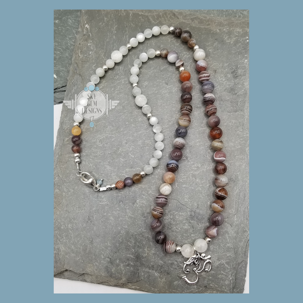 ELEPHANT-OM PENDANT ON BOTSWANA AGATE & MOONSTONE NECKLACE