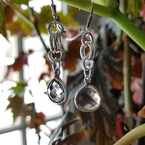 ENDLESS CIRCLE TEARDROP SMOKEY QUARTZ EARRINGS