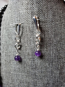 AMETHYST & BLACK TOURMALINE NECKLACE WITH EARRINGS SET