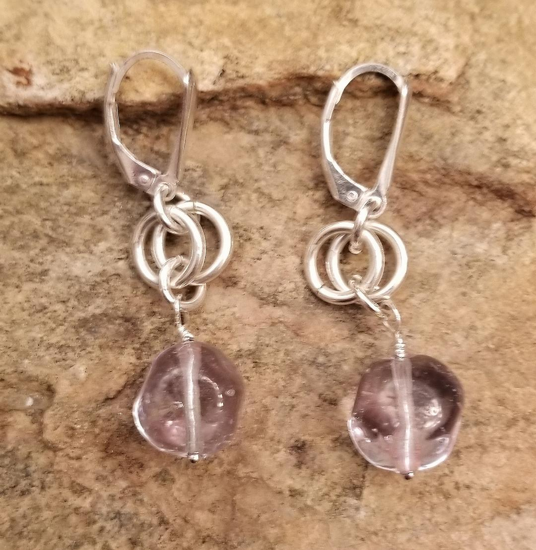 MURANO GLASS CLEAR EARRINGS W/ LEVER STYLE CLOSURE