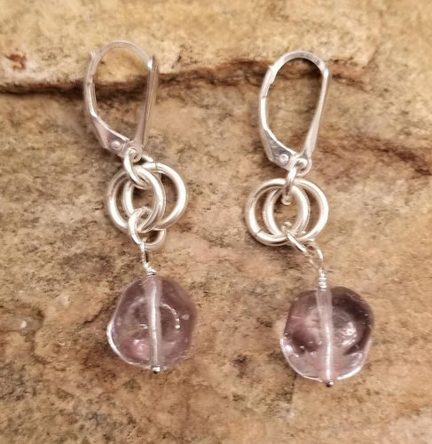 MURANO GLASS CLEAR EARRINGS WITH LEVER STYLE CLOSURE