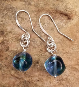 MURANO GLASS NAVY BLUE EARRINGS W S-HOOK EAR WIRE