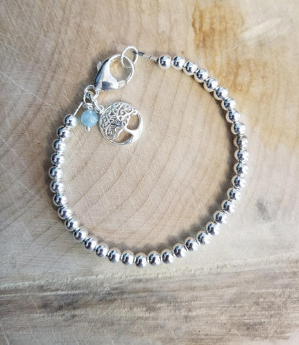 SWEET GEMS STERLING SILVER BRACELET WITH TREE OF LIFE CHARM