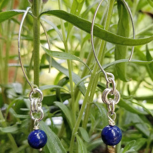 ENDLESS CIRCLE EARRINGS WITH LAPIS LAZULI & WISHBONE EARWIRE