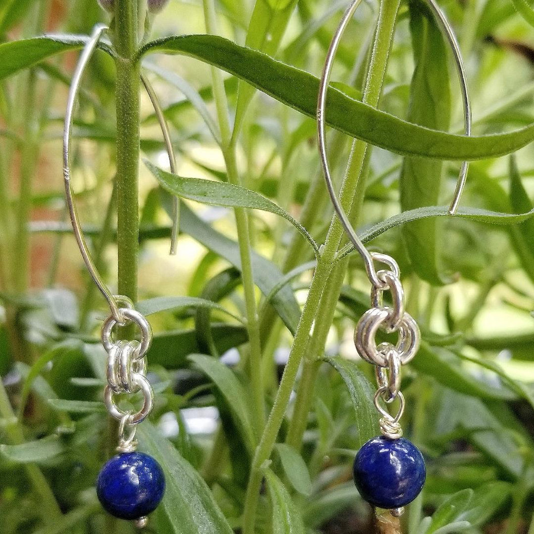 ENDLESS CIRCLE EARRINGS WITH LAPIS LAZULI & V-HOOK EARWIRE