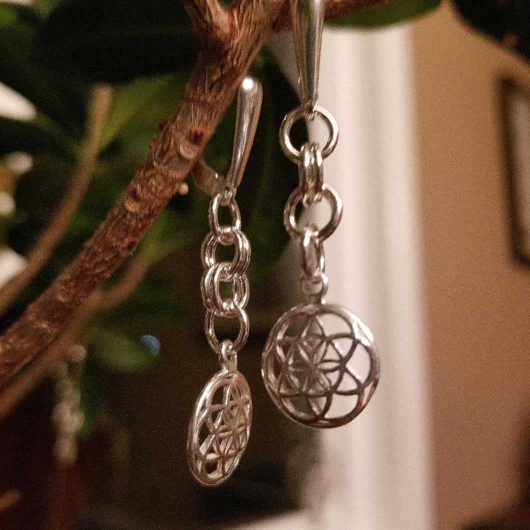 ENDLESS CIRCLE EARRINGS W/FLOWER OF LIFE CHARM