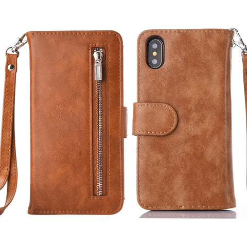 HAISSKY 2 in 1 iPhone XS Max/XR/XS/X/8 Leather Flip Case