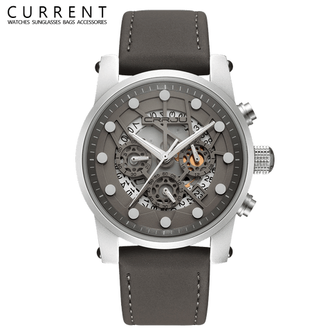 Aviator Men's Leather Skeleton Watch