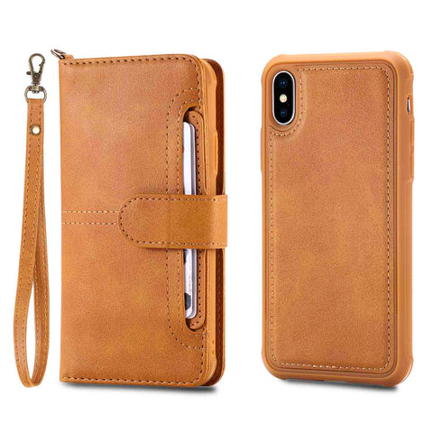 iPhone XS Max/XR/XS/X/8 Leather Detachable Magnetic Flip Case