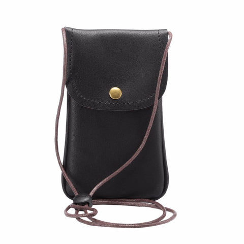 Women's Universal Leather Cell Phone Sling Pouch