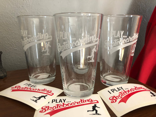 Iplayskateboarding pint glasses