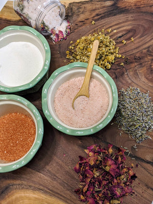 """Make Your Own"" DIY Sugar and Salt Scrub and Relaxing Bath Tea Kit"