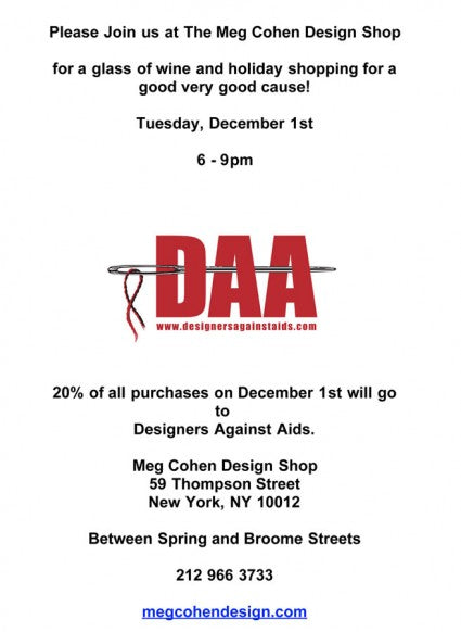 Meg Cohen Cashmere Sale In NYC Benefitting DAA On World AIDS Day!