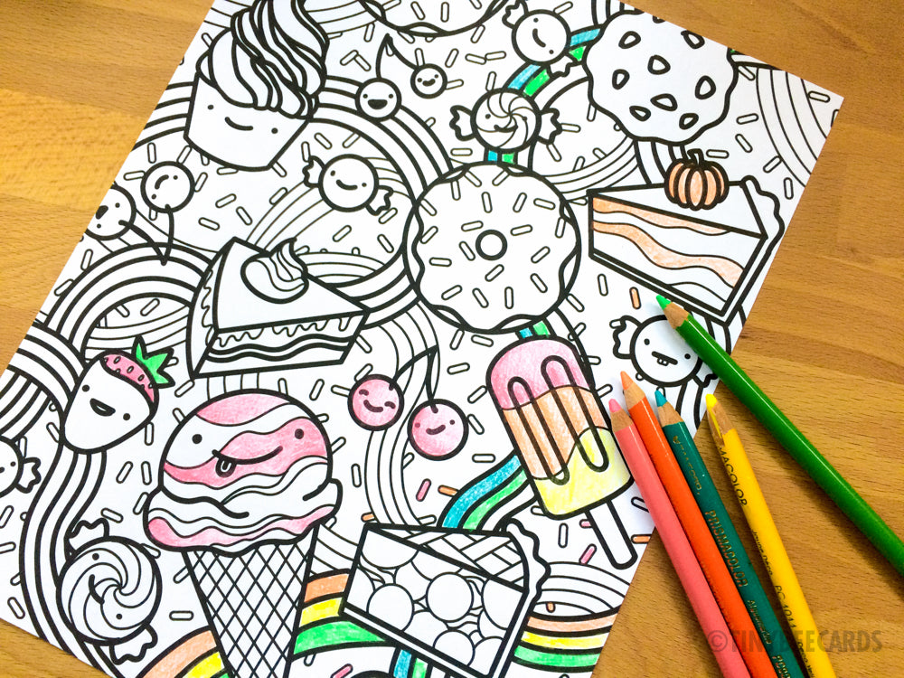 Happy Desserts Coloring Page
