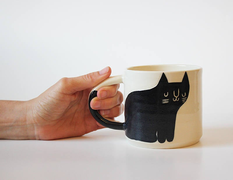 Black and White Happy Cat Mug with Tail on Handle