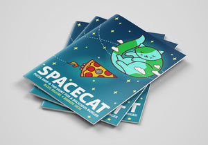 SpaceCat and PizzaShip Comic Book-TinyBeeCards