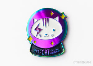 Crystal Ball Cat Enamel Pin Abra-CAT-dabra - rainbow electroplated, magical cat, cat lover gift, flair game, witchcraft, for her, glitter