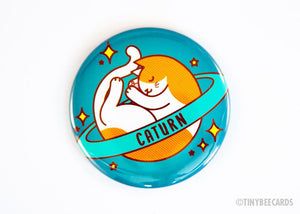 "Cat Button ""Caturn"" - Space Cat Pin Magnet or Mirror-TinyBeeCards"