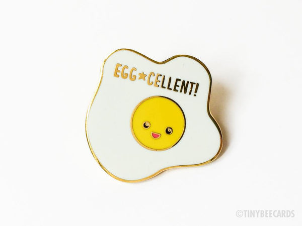 Egg-cellent Fried Egg Hard Enamel Pin-Enamel Pin-TinyBeeCards