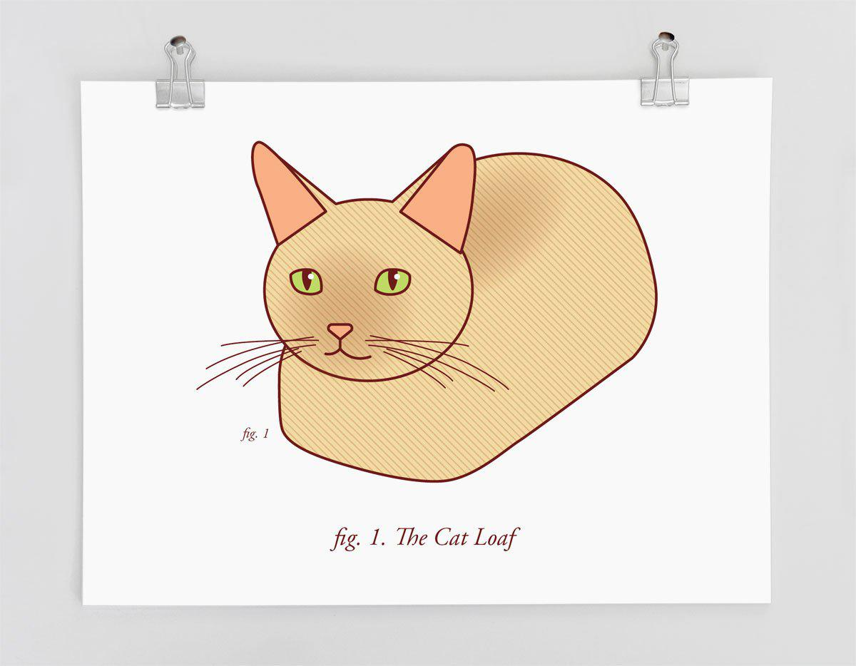 "Funny Cat Art Print ""The Cat Loaf"" - cat lovers, bread cat, funny home decor, cat gifts, cat humor, scientific diagram, cat owner gift"
