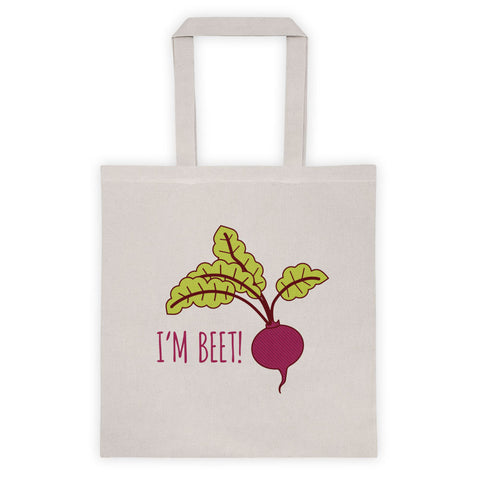 "Funny Tote Bag ""I'm Beet!"" - Pun tote, funny gift, funny market bag, birthday gift tote, beet vegetable art, farmers market, joke gifts"