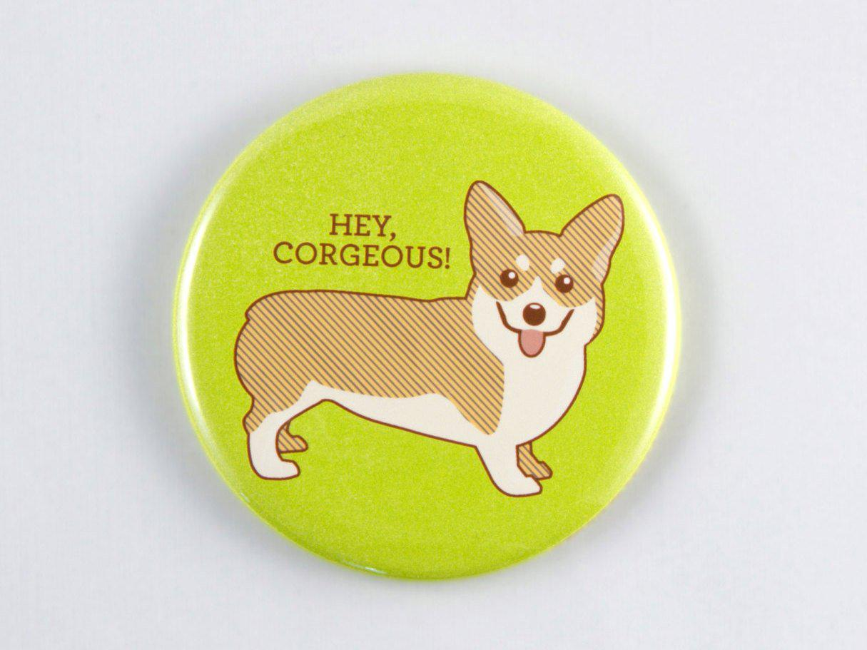 Corgi  Magnet, Pin, or Pocket Mirror - dog magnet, dog pin, dog lover gift, dog fridge magnet, corgi lover gift, dog decor, stocking stuffer