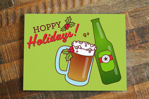 "Funny Beer Christmas Card ""Hoppy Holidays!"" - Pun xmas card, funny holiday greeting card, beer lovers card, beer humor, for women or men"