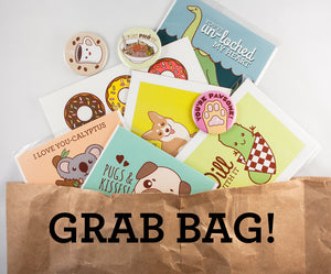 Grab Bag! Cards, Art Prints, Pins and Buttons! - lucky dip, surprise grab bag, goodie bag sale, stationary grab bag, gift ideas, surprise me