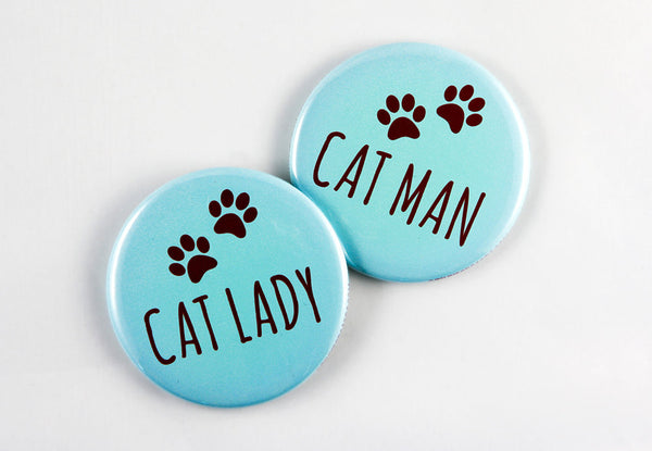 Cat Lady/Cat Man Magnet, Pin, or Mirror-Button-TinyBeeCards