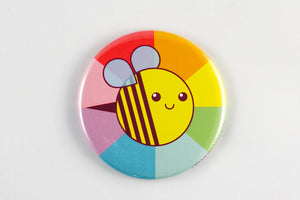 Bee  Magnet, Pin, or Pocket Mirror - cute refrigerator magnet, rainbow magnet, pinback button, tiny bee button, fridge magnet, bright colors