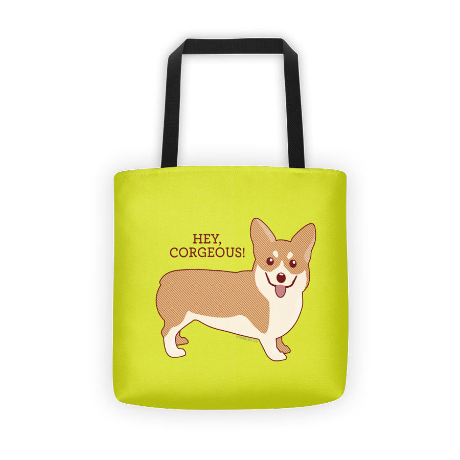 Hey Corgeous Tote Bag - corgi tote bag, dog lover gifts, girlfriend or wife gift, stocking stuffer, corgi lover gift, cute dog art, animals