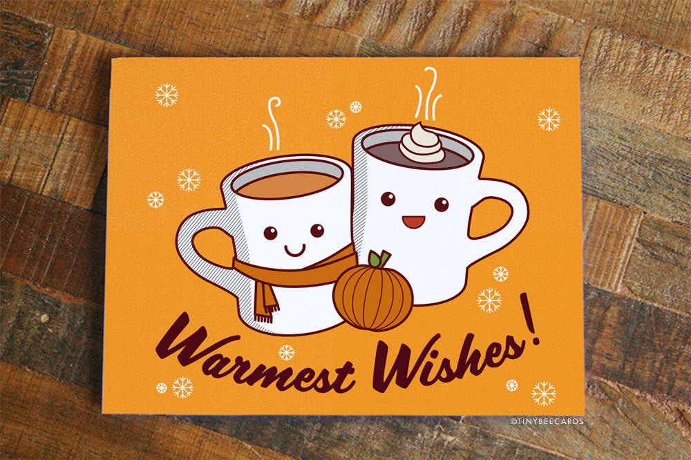 Warmest Wishes Card Pumpkin Spice - cute holiday card, fall autumn & winter greetings card, hot cocoa card, happy holidays card, warm wishes