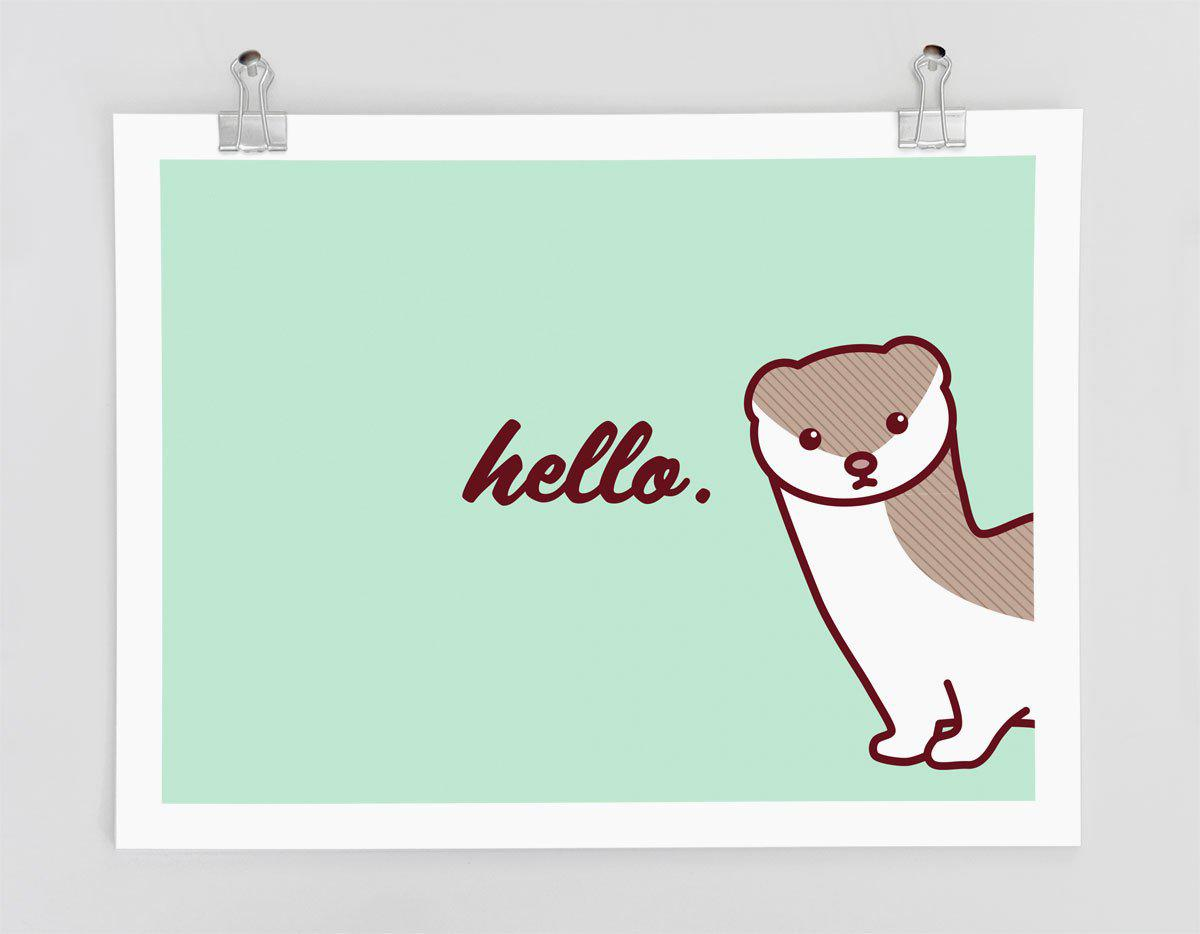 Cute Stoat/Weasel Art Print - Funny Print, Animal Wall Art, Hello Wall Poster, Typography Poster, Nursery Art, Office Decor, Home Decor Art