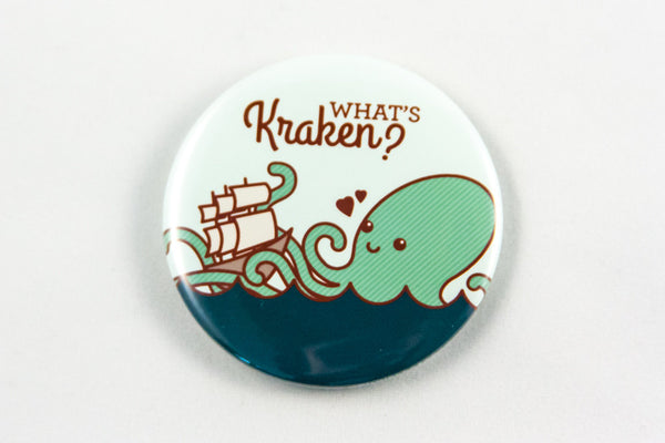 Funny Kraken Magnet, Pin, or Mirror-Button-TinyBeeCards