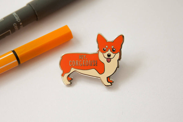 "Corgi Hard Enamel Pin ""Hey Corgeous""-Enamel Pin-TinyBeeCards"