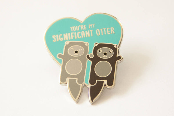 Otters Hard Enamel Pin - significant otter pun, boyfriend girlfriend husband wife gift, cute lapel pin, pin badge, valentine gift pin game