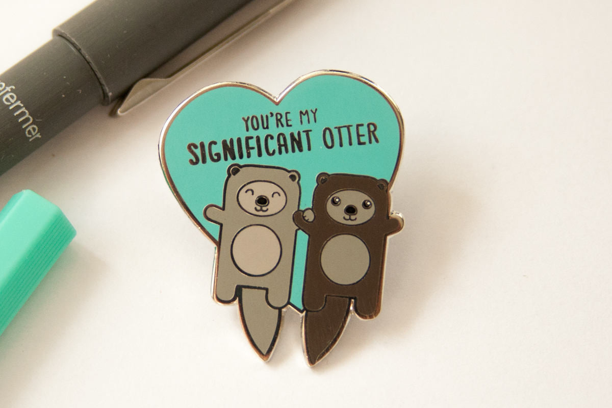 "Otters Holding Hands Hard Enamel Pin ""You're My Significant Otter""-Enamel Pin-TinyBeeCards"