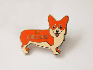 Corgi Hard Enamel Pin - hey corgeous pun, cute corgi gifts, cloisonne pin, lapel pin, corgi jewelry, silver enamel pin, pin badge, funny pun